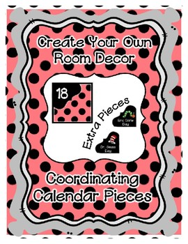 Calendar Pieces with Extras - Create Your Own Room - Black Dot - Pastel Red