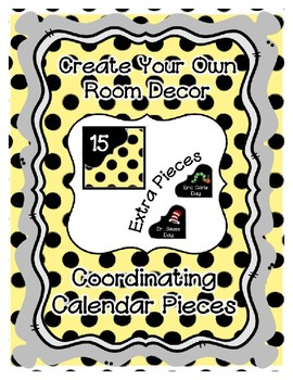 Calendar Pieces with Extras - Create Your Own Room - Black Dot - Pastel Yellow