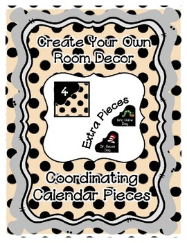 Calendar Pieces with Extras - Create Your Own Room - Black Dot - Pastel tan