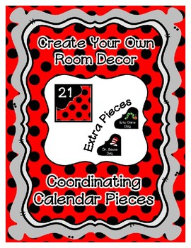 Calendar Pieces with Extras - Create Your Own Room - Black Dot - Red
