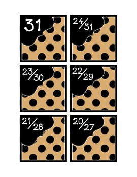 Calendar Pieces with Extras - Create Your Own Room - Black Dot - Tan