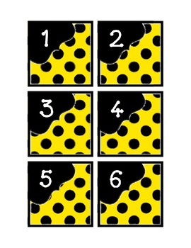 Calendar Pieces with Extras - Create Your Own Room - Black Dot - Yellow