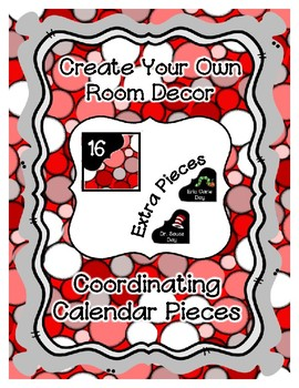 Calendar Pieces with Extras - Create Your Own Room - Collage Dot - Red