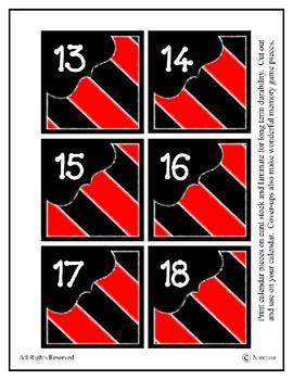 Calendar Pieces with Extras - Create Your Own Room - Large stripe - Red
