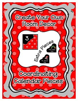 Calendar Pieces with Extras - Create Your Own Room - Pastel Dot - Red