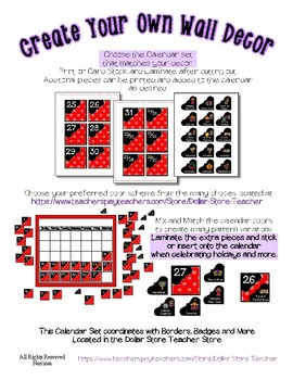 Calendar Pieces with Extras - Create Your Own Room - White Dot - Red
