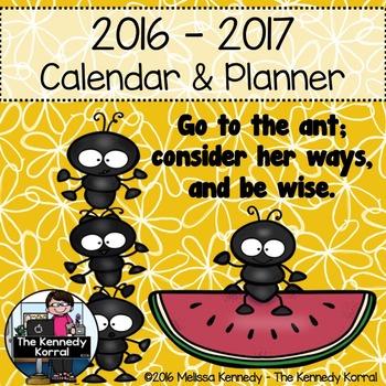 Calendar & Planner 2016-2017 {Ants}