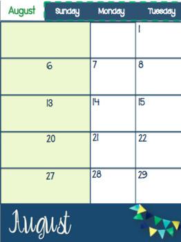 Calendar & Planner-2017-2018-Editable