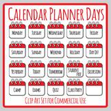 Calendar Planner Days / Days of the Week / Planner Headers Clip Art