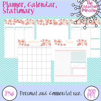 Flower Calendar, Planner and Stationary (451 pages) freebie