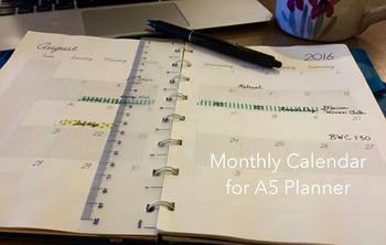 Calendar Planner for July 2016- June 2017 Academic Year (A5, half-sheet)