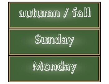 Calendar: Pocket Chart Calendar Cards - Chalkboard - Sketch Font