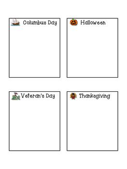 Calendar Pocket Chart Holiday Cards