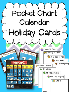 Calendar Pocket Chart Holiday Cards