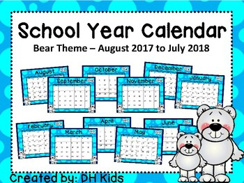 Calendar - Polar Bear Theme - School Year Calendar
