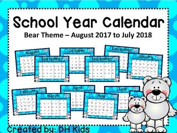 Calendar - Polar Bear Theme - School Year Calendar
