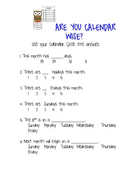 Calendar Practice (days and months)