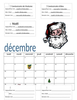 Calendar Project In French By Je M Appelle Madame Tpt
