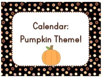 Calendar: Pumpkin/Halloween Theme  (Pocket Chart)