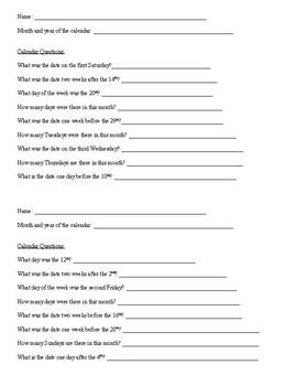 Calendar Questions - 4 sets