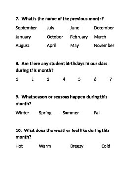 Calendar Questions-Multiple Choice Answers