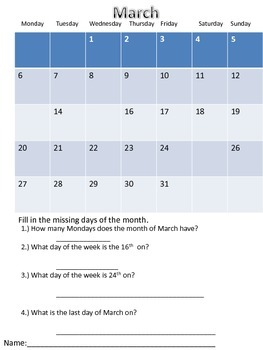 Calendar Questions- Practicing calendar skills