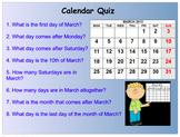 Calendar Quiz - Dates