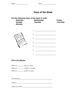 Calendar Review Worksheets