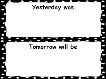Calendar Routine Card Labels Black Polka Dots