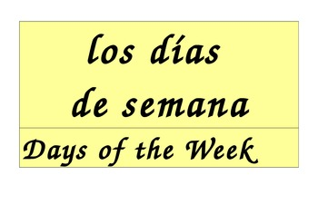 Days of the Week Calendar in Spanish