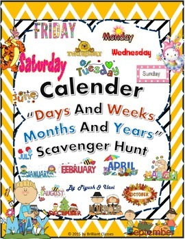 Calendar Scavenger Hunt - Activity for Days/Week and Month/Year