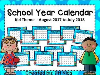 Calendar - School Kids Theme - School Year Calendar