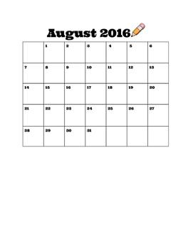 Calendar School Year 2016-2017