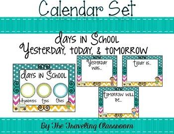 Editable Calendar Set {Chevron Polka Dot Classroom Decor}