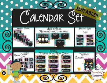 Editable Calendar Set {Chalkboard Chevron Polka Dot Them}