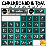 Calendar Set in a Chalkboard and Teal Classroom Decor Theme with Number Line