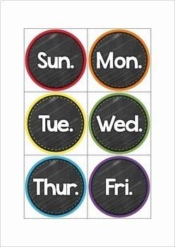 Classroom Chalkboard Calendar Set