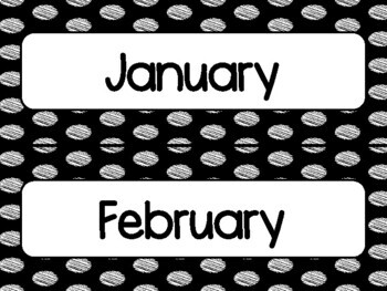 Black Polka Dot Calendar Pieces