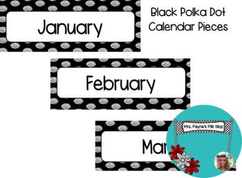 Black Polka Dot Calendar Pieces