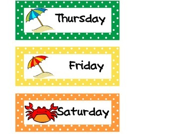 Calendar Set Beach Theme