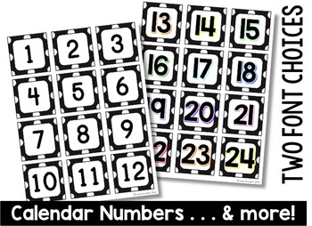 Calendar Set - Black & White Polka Dot