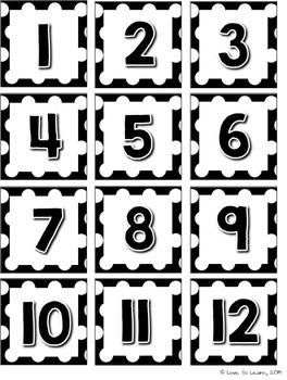 Calendar Set - Black & White Polka Dot - D'Nealian Manuscript