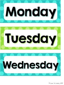 Calendar Set - Turquoise & Lime Polka Dot