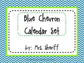 Calendar Set - Blue Chevron with Lime {EDITABLE}