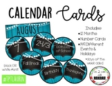 Calendar Set with holiday cards (Blue Rustic Wood)
