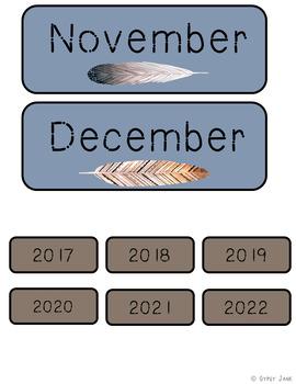 Calendar Set Boho Feathers