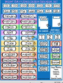 Calendar Set: Bright Curvy Lines Design