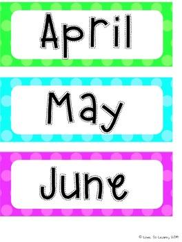 Calendar Set - Bright Shades of Polka Dot