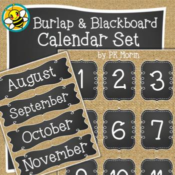 Calendar Set - Burlap & Blackboard