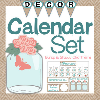 Calendar Set - Burlap and Shabby Chic Themed {Round Calendar Cards}